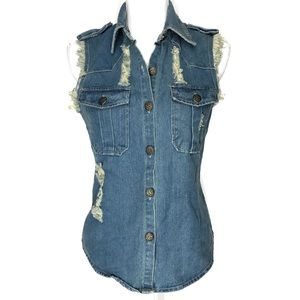 Hot & Delicious Jean Distressed Sleeveless Shirt